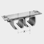 Dvojité upevnění na strop, spojky s odstupem a bez odstupu Č. 2 (62 mm)